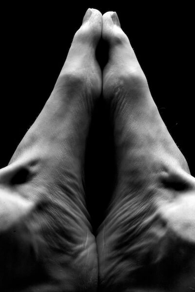 Feet Yoga Pose in Black and White