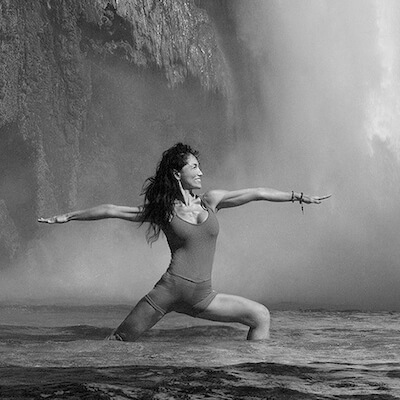 Water Fall Yoga Pose in Black and White