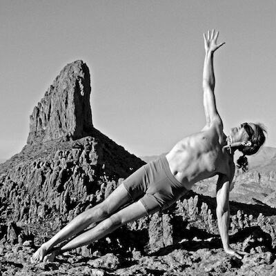 Weavers Needle Yoga Pose in Black and White